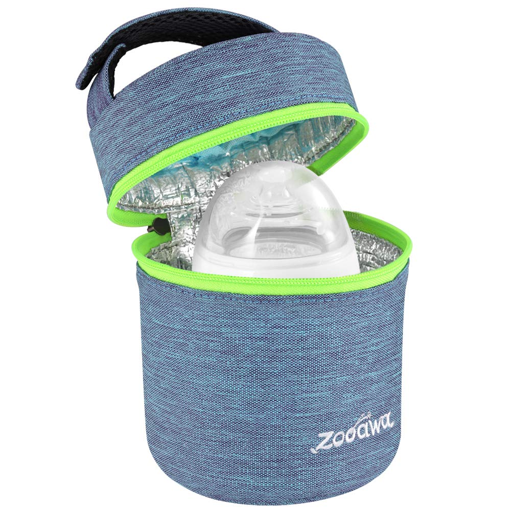 Zooawa Breastmilk Baby Bottle Cooler & Travel Bag, Portable Breast Milk Storage Insulated Baby Bottle Carrier Tote Bag for Bottles, On The Go, Outdoor Use, Ice Pack Not Included - Blue