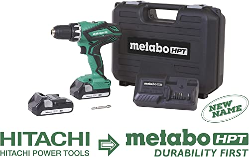 Metabo HPT Cordless Driver Drill Kit, 18V, Includes 2 Lithium Ion Batteries, Carrying Case, 1 2 Keyless Chuck, LED Light, 22 1 Stage Clutch, Variable Speed Trigger DS18DGL
