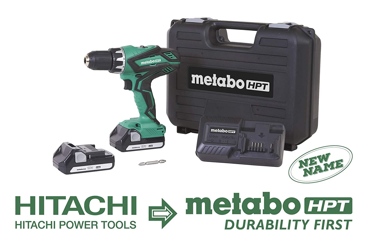 Metabo HPT DS18DGL 18V Cordless Driver Drill Kit, Includes 2 Lithium Ion Batteries, Carrying Bag, 1 2 Keyless Chuck, LED Light, 22 1 Stage Clutch, Variable Speed Trigger