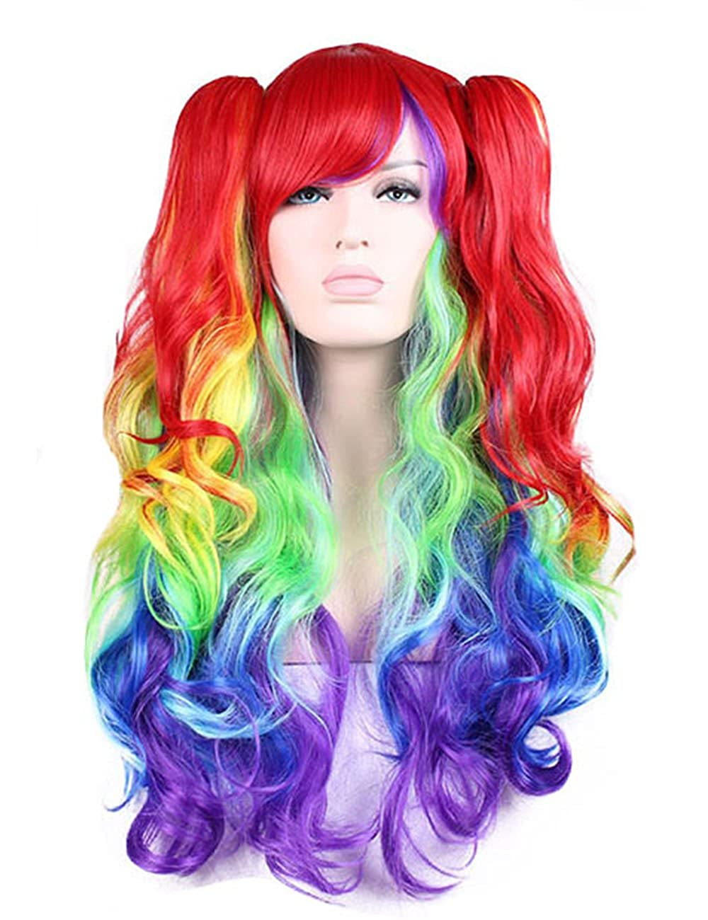 Lovely Girl Curly Harajuku Cosplay Wigs Ombre Gradient Synthetic Heat Resistant Hair