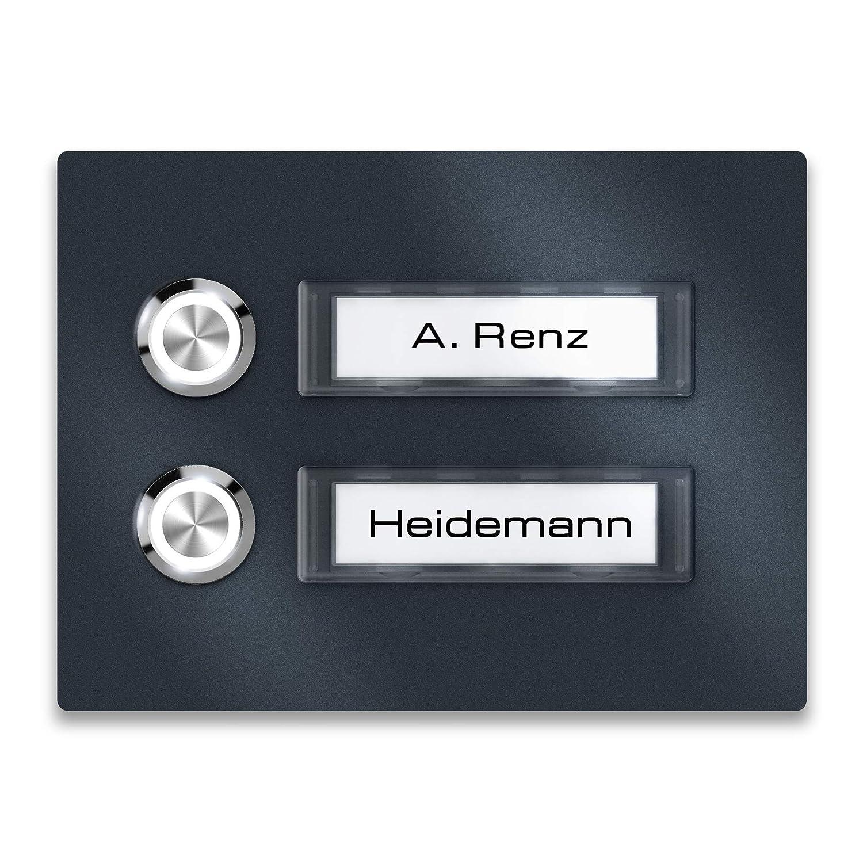placa para el nombre Renz para varias familias. Placa de timbre de pared de antracita RAL7016