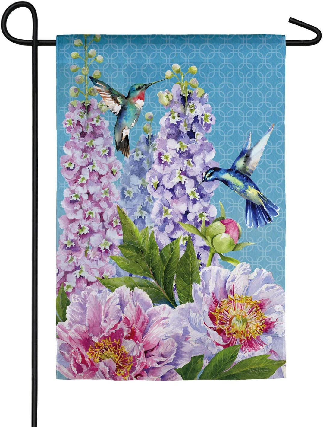 Peonies & Hummingbirds Garden Suede Flag - 13 x 1 x 18 Inches