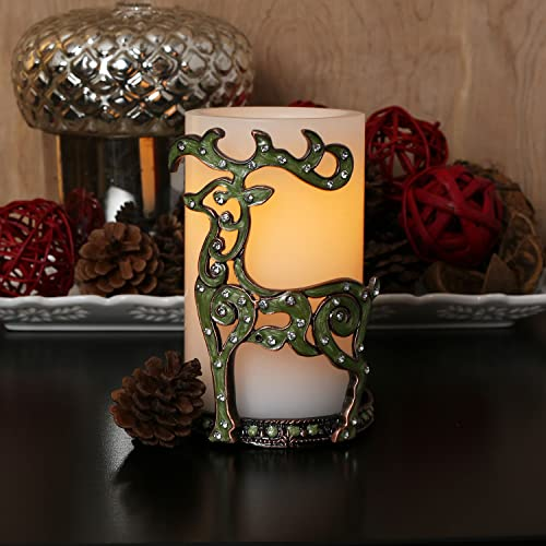 LampLust Christmas Reindeer Candle Holder – Green Embellished Metal Candleholder with White Flameless LED Candle, 5 Hour Timer Included, Holiday Decor
