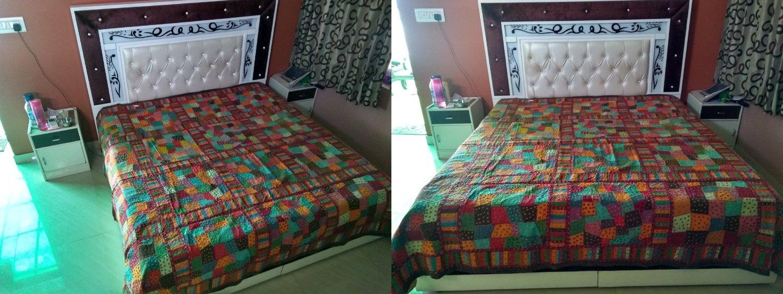 Rastogi Handicrafts India Ethnic Handmade Applique Jogi Work Cotton Double Bedcover Queen size Multi colored Bedsheet cover (MULTI COLOR 20 BOXES)