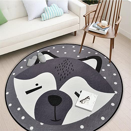 Amazon Com Assr Round Area Rug Dia 39inch Cartoon Animal Round Children Area Rug Yoga Mat For Living Room Bedroom Decors Kids Room Baby Nursery Fox Kitchen Dining