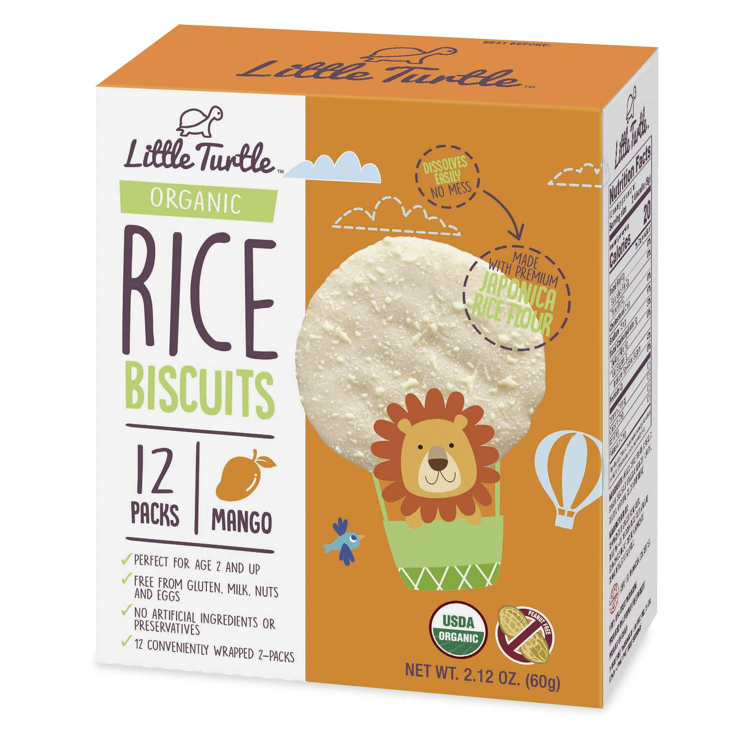 Little Turtle Rice Biscuits, Organic Mango Flavor, 12 wrapped 2 Pack, 4 Count by Little Turtle