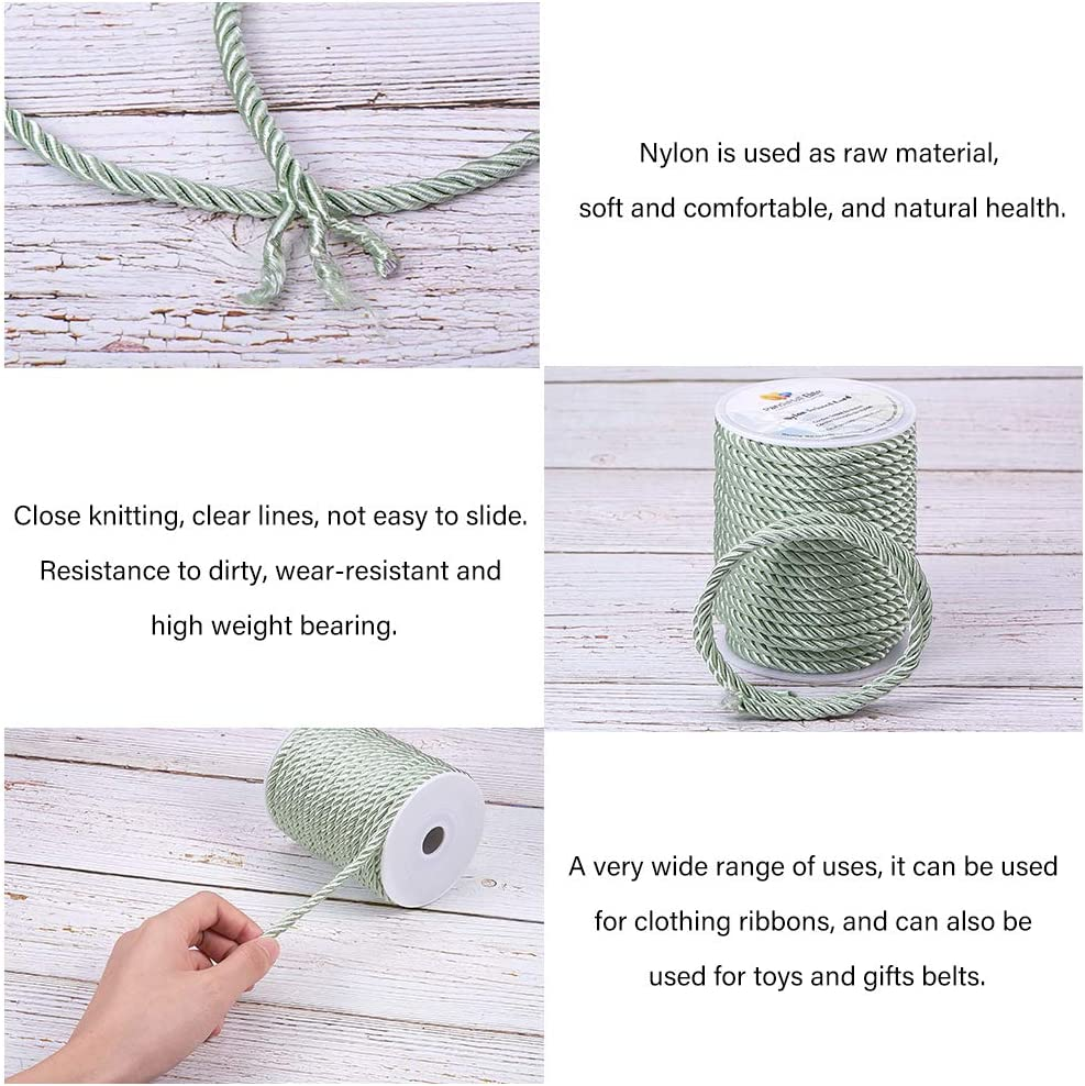 PH PandaHall 18 Yards 5mm Twisted Cord Trim 3-Ply Twisted Cord Rope Nylon Crafting Cord Trim Thread String for DIY Craft Making Home Decoration Upholstery Curtain Tieback Silver