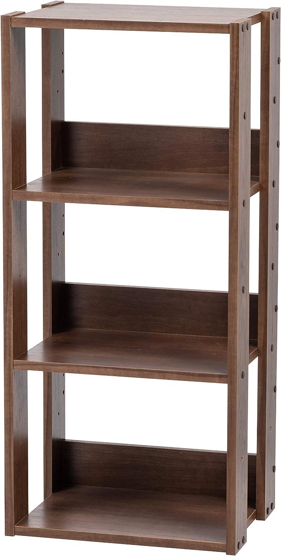 Unidad de almacenamiento de 3 niveles en madera Open Wood Rack OWR-400 Roble marr/ón L40 x P29,3 x A87,9 cm Estante de 3 compartimentos Iris Ohyama
