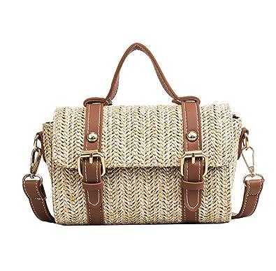 Amazon.com: skyseen Niñas Ladies Vintage paja bolsa tejida ...