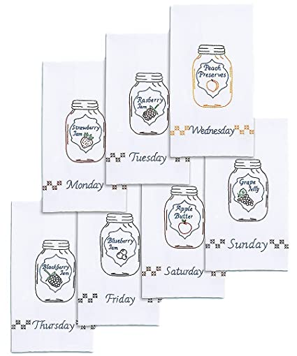Amazon Com Mason Jars Days Of The Week Decorative Hand Towels Set
