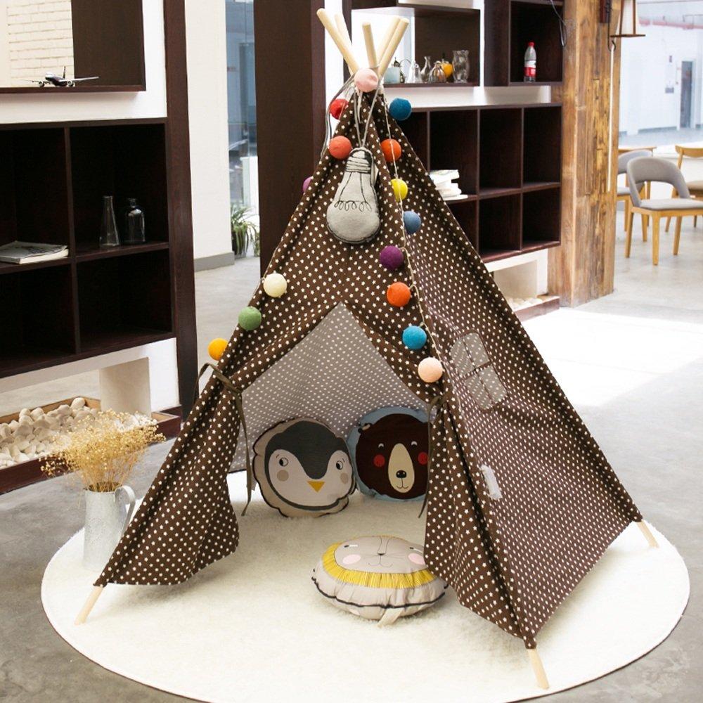 家庭の照明- 子供のゲームテントブラウンスターパターンインドテントテントの屋内屋外庭のテントブラウンの5つのコーナー(おもちゃと装飾は含まれていません) テント   B07F1LPSHK