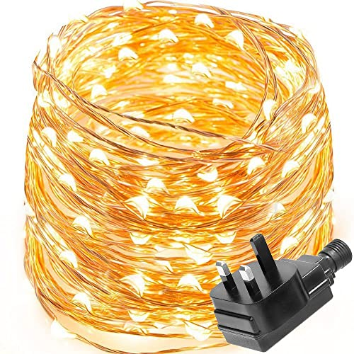 Warm white soft white led rope light 6m long indoor or outdoor le waterproof 10m 100 led copper wire lights power adapter included fairy starry string aloadofball Image collections