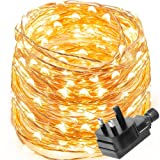 LE Waterproof 10m 100 LED Copper Wire Lights, Power Adapter Included, Fairy Starry String Lights, Warm White,Decorative Rope Lights Firefly Lights for Christmas, Party, Valentine's Day, Wedding, Garden, Festival