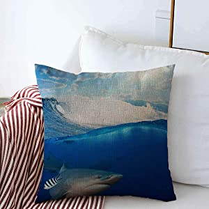 Throw Pillows Covers Cushion Case Predator Blue Underwater Oceanview Splitted Two Parts First Reef Few Shark Nature Sea Wave Deep Cotton Linen for Fall Couch Home Decor 16 x 16 Inches
