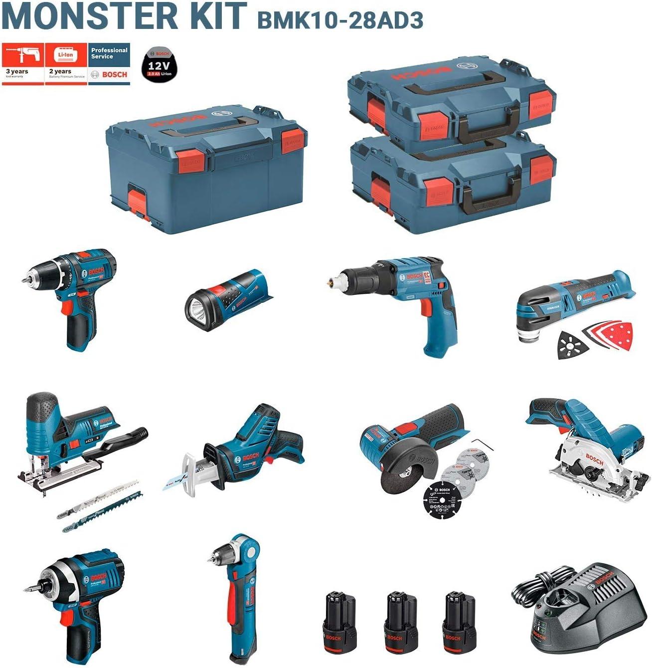 BOSCH Kit 12V BMK10-28AD3 (GSR 12V-15 + GDR 12V-105 + GKS 12V-26 + GWS 12V-76 + GST 12V-70 + GOP 12V-28 + GSA 12V-14 + GWB 12V-10 + GLI 12V-80 + GTB 12V-11)
