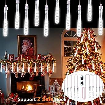 Boda EEIEER Meteoros Lluvia Luces LED Navidad Blanco Paisaje de la Decoraci/ón 50cm 10Tubos 540 LEDs Lluvia de Meteoritos Cadena de Luces Impermeable Guirlandas Luces para Fiesta