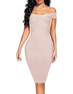 Womens Bandage Dress Off Shoulder Spaghetti Bodycon Club Party Dress