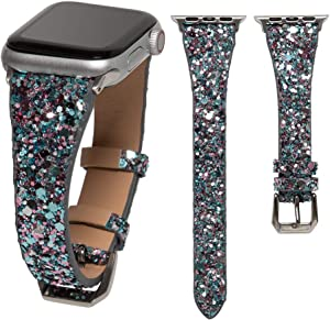 HAYUL Glitter Band Compatible with Apple Watch 38mm 40mm 42mm 44mm, Luxury Shiny Bling Leather Strap Wristband for iWatch Series 6/5/4/3/2/1 SE Women Girls (Lake Blue, 38mm/40mm)