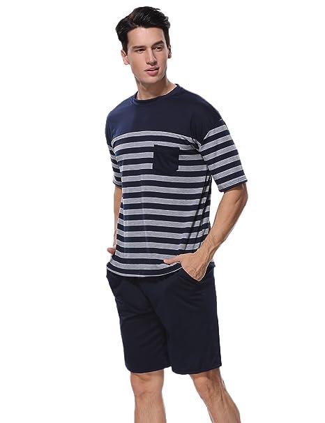 0c8495b24 Aiboria Conjunto de Pijama para Hombre de Manga Corta Ropa de Dormir de  Verano de algodón Suave Conjunto de salón de Rayas y Pantalones Cortos:  Amazon.es: ...