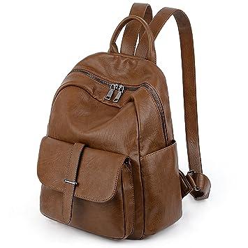 bff84b2f793ad UTO Damen Rucksack PU Washed Leder Damen Kleine College Schultasche  Schultertasche Double Zips Brown