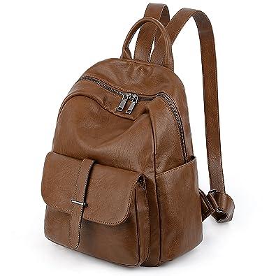 Amazon.com  UTO Women Backpack Purse PU Washed Leather Ladies Rucksack Belt  Pocket Shoulder Bag Brown  Shoes e3a925f5cea18