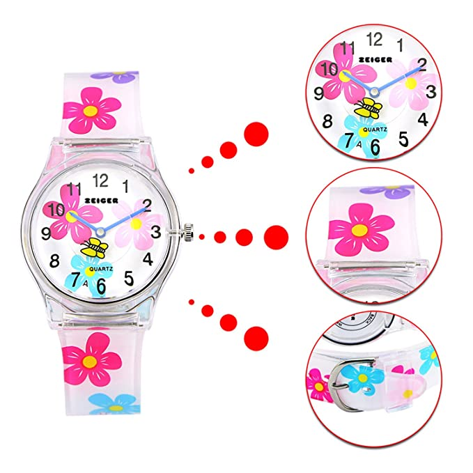 Boxx Kids Analogue Pale Pink & White Dial & White Easy Fasten Strap Kids Watch Armbanduhren