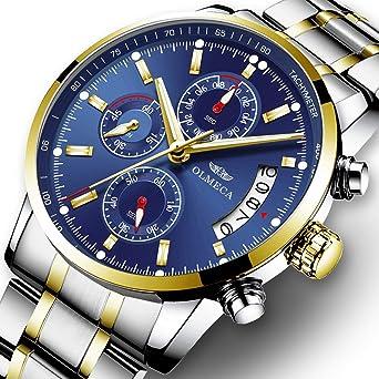 OLMECA Mens Luxury Watch Fashion Analog Quartz Watches Stainless Steel Chronograph Women Watch Waterproof Wrist Watch
