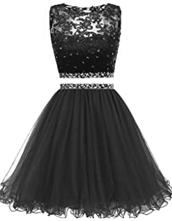 Himoda Womens Two Pieces Short Prom Gowns Beaded Homecoming Dresses H021