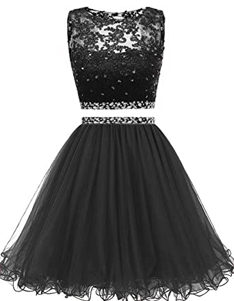 8a6a419ee74 Himoda Women s Two Pieces Short Prom Gowns Beaded Homecoming Dresses H021 0  Black