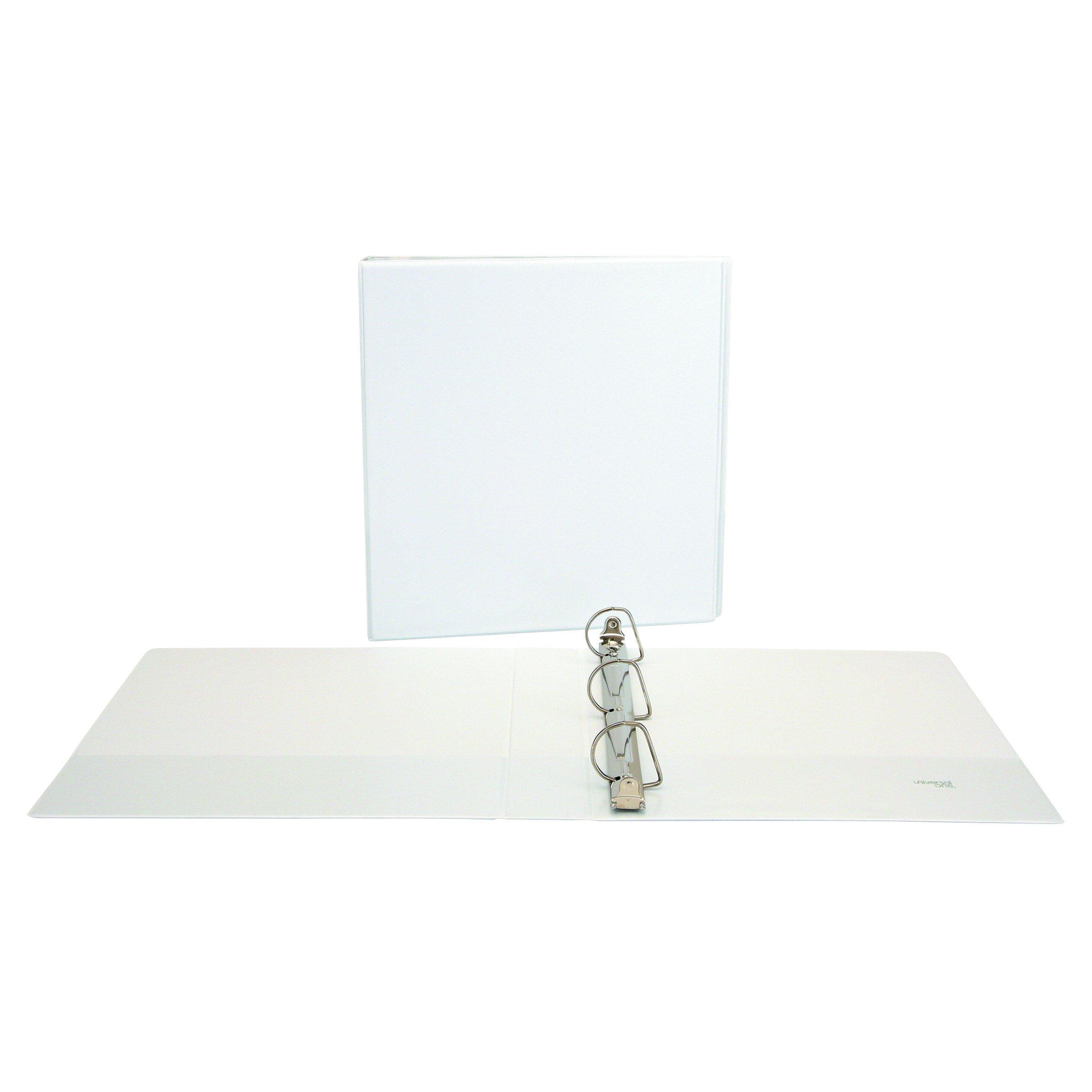 Universal 20744PK Slant-Ring Economy View Binder, 1-1/2'' Capacity, White (Pack of 4)