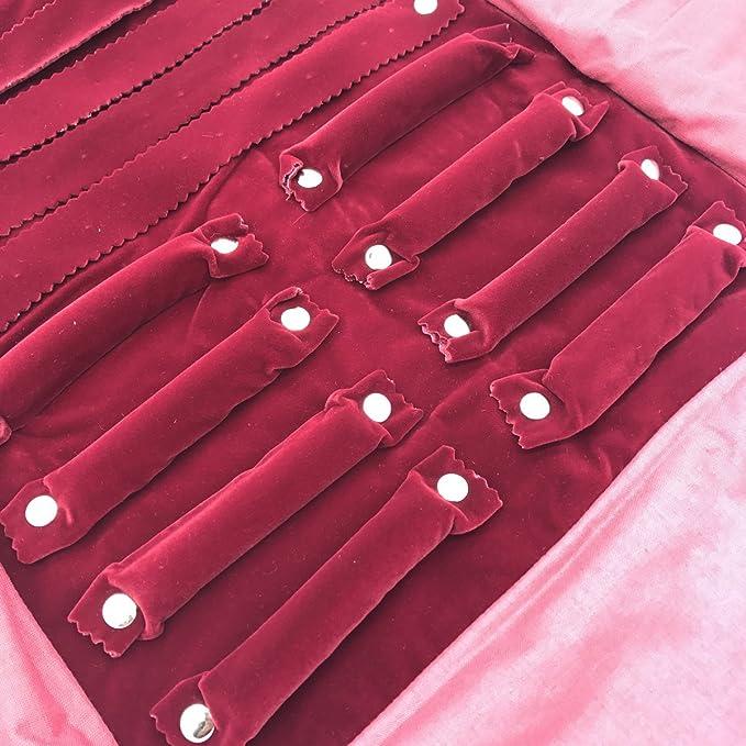 pulsera Peque/ño estuche enrollable organizador de joyas para viaje aretes UnionPlus anillo Apto para collar color Borgo/ña