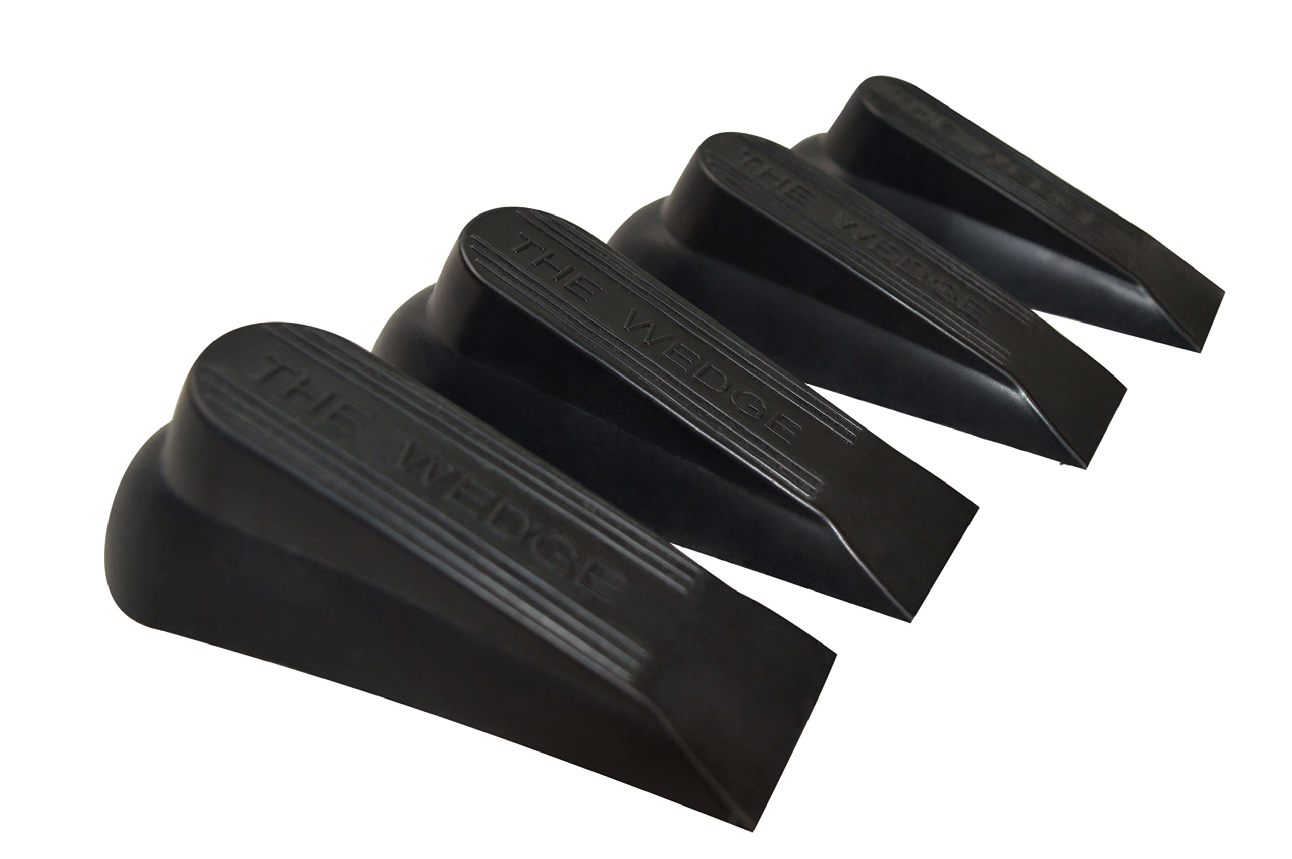 Door Stop | 4 Pack | Flexible Black Rubber Door Stopper Easily Wedges Door Gaps up to 1.6 Inches | Baltic Living Doorstop (Black)