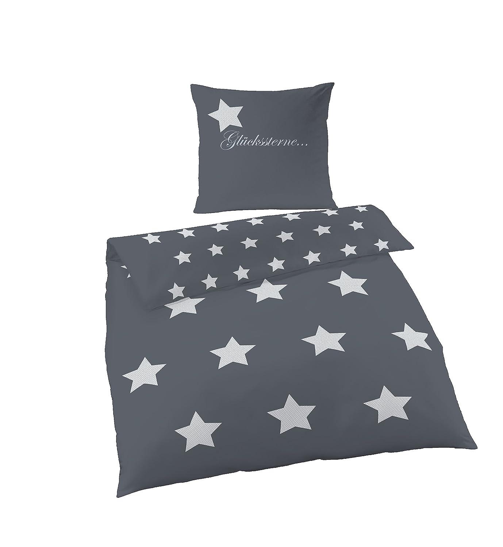 Soma Biber Bettwäsche 4 Teilig Bettbezug 135 X 200 Cm Kopfkissenbezug 80 X  80 Cm Grau Anthrazit Sterne: Amazon.de: Küche U0026 Haushalt