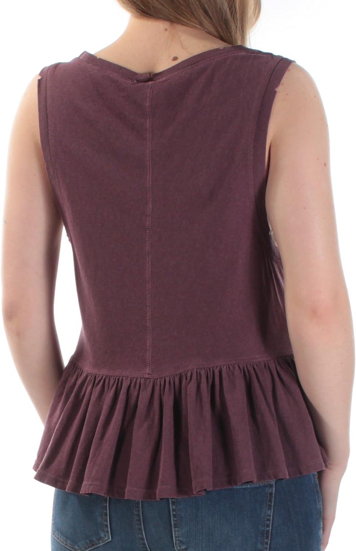 We The Free $48 Womens New 1139 Purple Pocketed Sleeveless Peplum Top S B+B