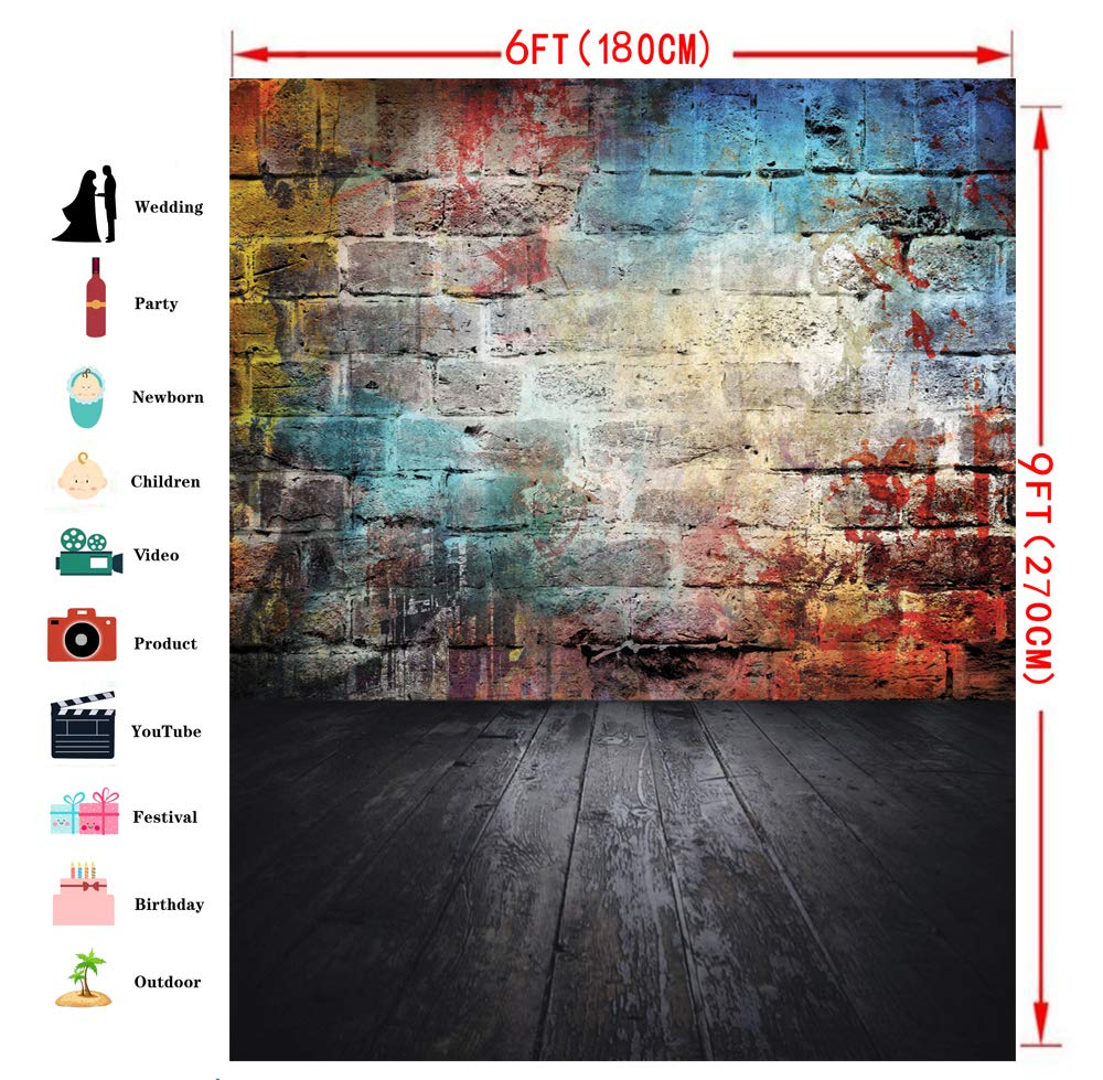 Dudaacvt Graffiti Photography Backdrop 5x7ft Colorful Brick Wall Vinyl Photography Backdrop Black Floor Photo Background Studio Prop D0590507