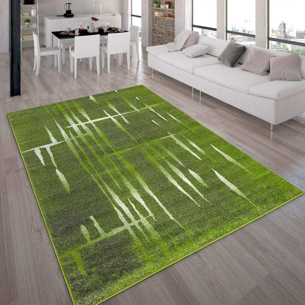 Paco Home Designer Teppich Modern Trendiger Kurzflor Teppich Meliert in Grün Grau Creme, Grösse 230x320 cm
