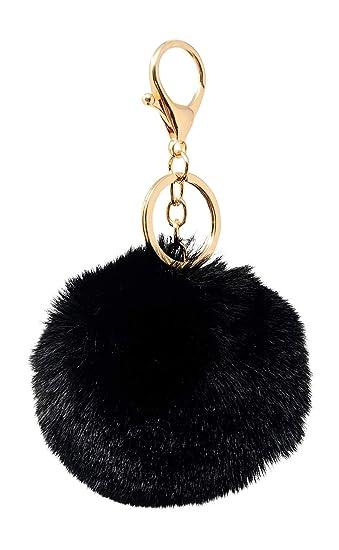 6d853750c64 SIMPLICHIC Faux Fox Rabbit Fur Pom Pom Keychain Bag Purse Charm Gold Ring Fluffy  Fur Ball