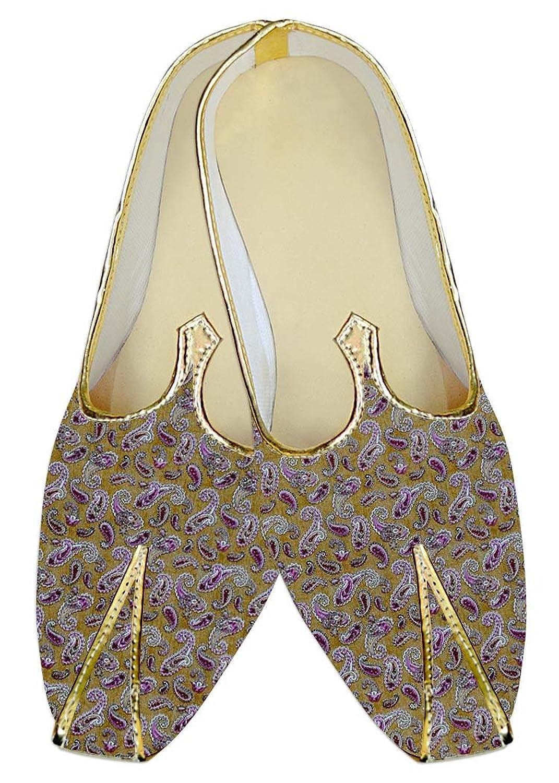 INMONARCH Hombres Dorado Boda Zapatos Púrpura Paisley MJ015978 37 EU