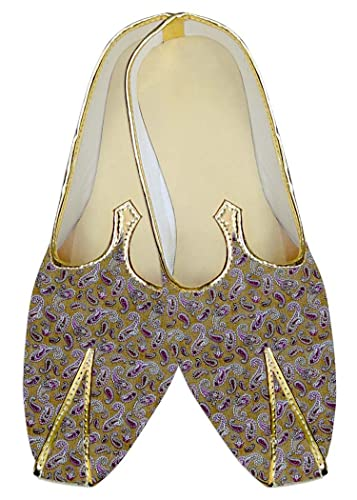 Mens Golden Wedding Shoes Purple Paisley MJ015978