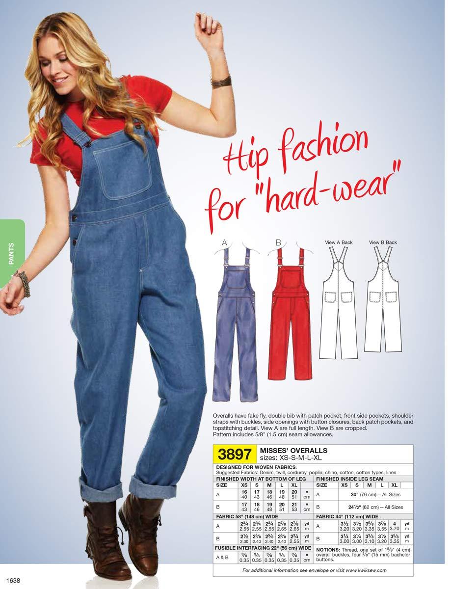 Kwik Sew K3897 Overalls Sewing Pattern Size XS-S-M-L-XL