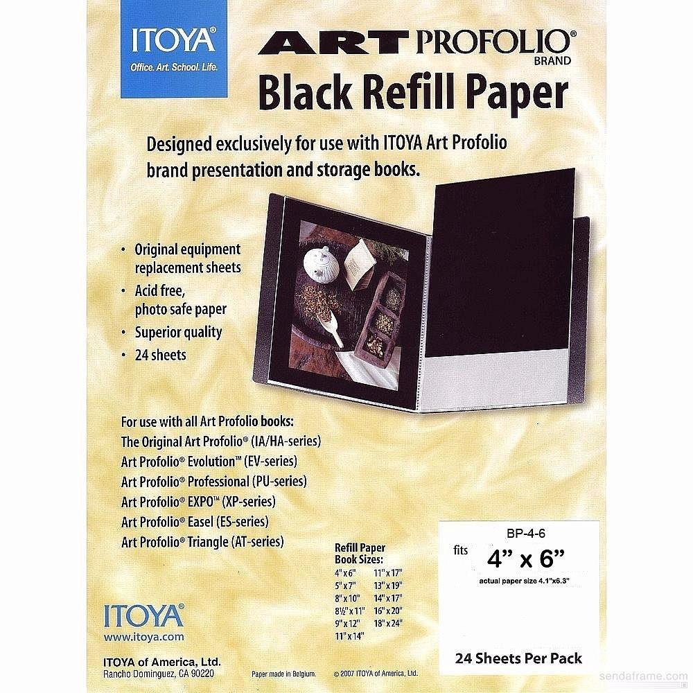 Itoya Profolio Black Paper Refill 4X6 24/Pk by Itoya of America Ltd