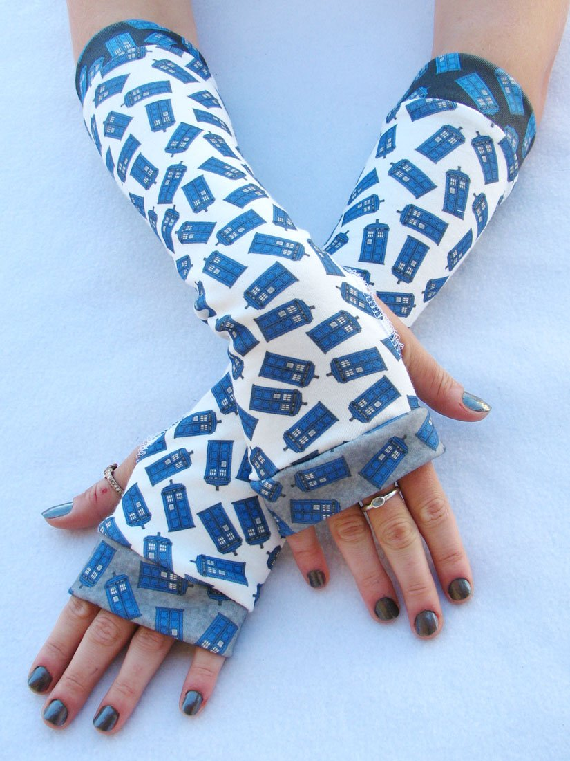 Whovian Fingerless Gloves police box galactic swirl arm warmers