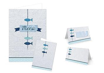 Diy Tisch Deko Set 25 30 Gaste Turkis Blau Weiss Maritim Fische 32