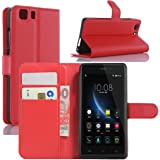 Doogee X5 Case, Doogee X5 Pro Case, HualuBro [Kickstand] PU Leather Wallet Flip Phone Case Cover with Stand Card Holder for Doogee X5 / X5C / X5S / Doogee X5 Pro Smartphone (Red)