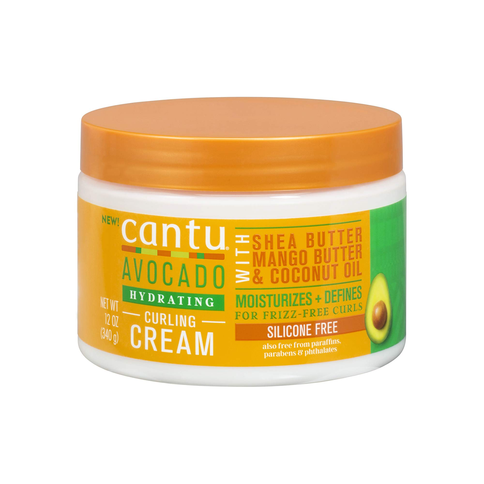 Cantu Avocado Curling Cream with Shea Butter, Mango Butter, & Coconut Oil, 12 Ounce