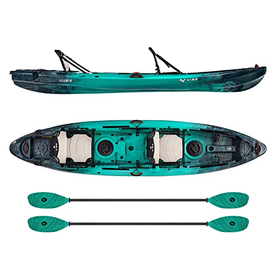 Vibe Kayaks Yellowfin 130T   13 Foot   Tandem Angler and Recreational Two Person Sit On Top Fishing Kayak with 2 Paddles and 2 Hero Comfort Seats + Flush Rod Holders + Built in Storage Included