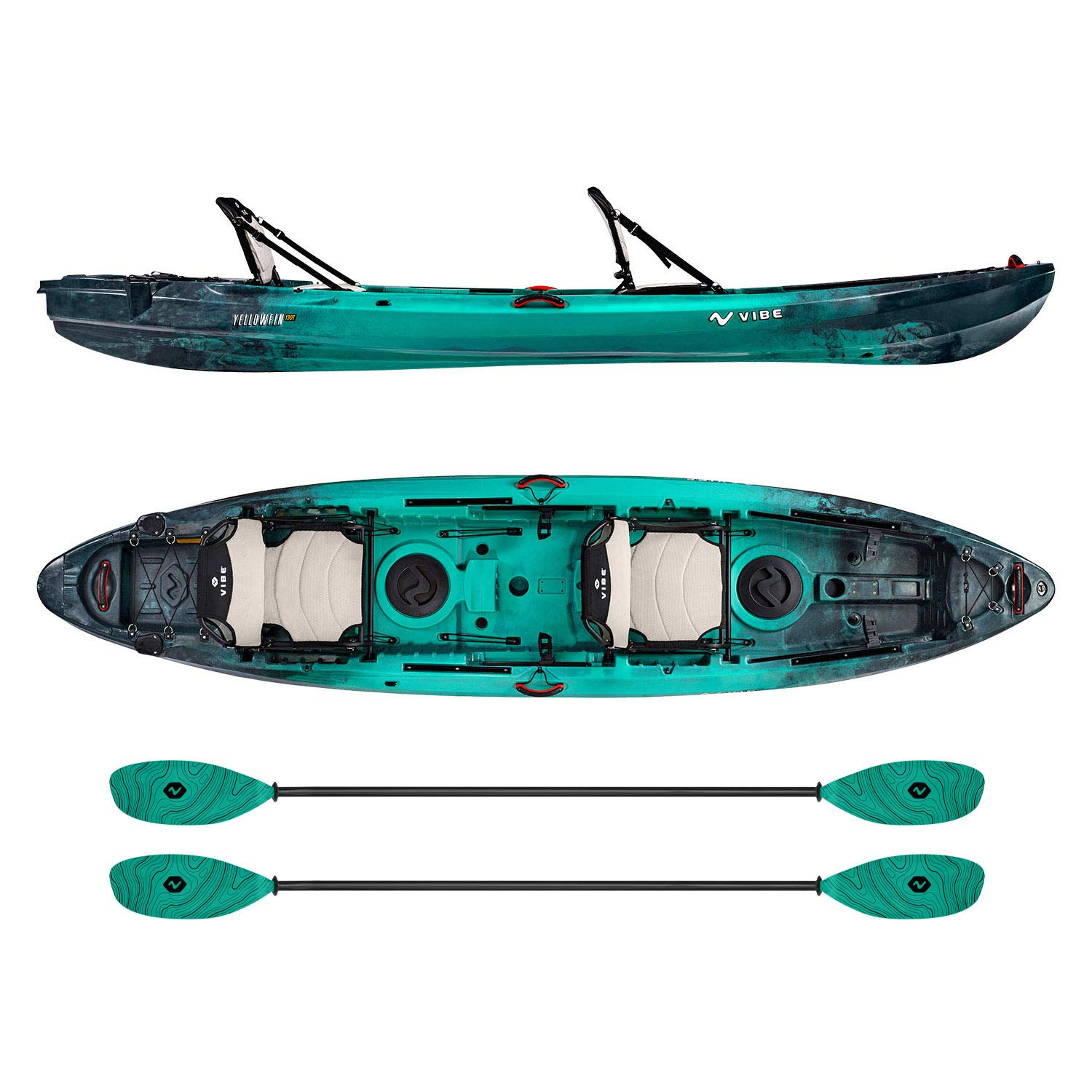Vibe Kayaks Yellowfin 130T | 13 Foot | Tandem Angler and Recreational Two Person Sit On Top Fishing Kayak with 2 Paddles and 2 Hero Comfort Seats (Caribbean Blue - Caribbean Blue Evolve Paddle)