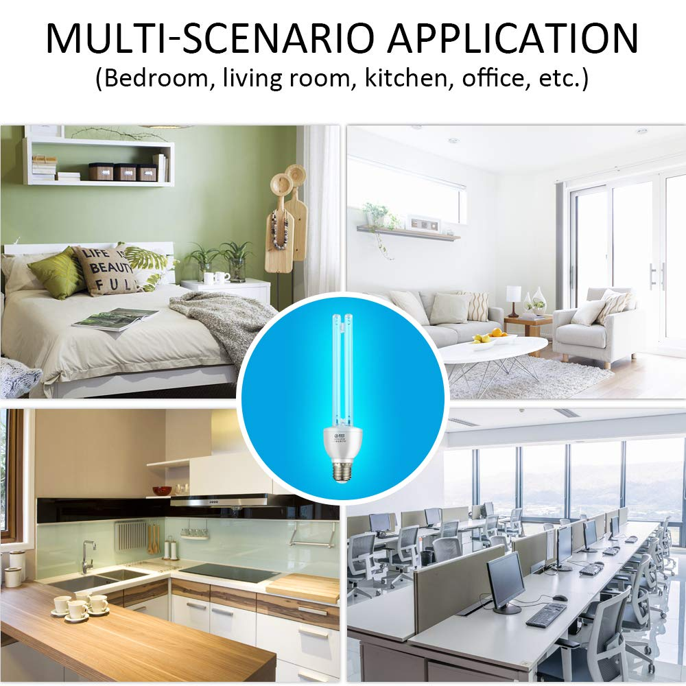 No O3 Compact UV 220V 15W Lamp Bulb Remote Control Timer E26//E27 Base for Home Nursery Hospital ANGELLOONG Household UVC Ultraviolet Cleaning Light