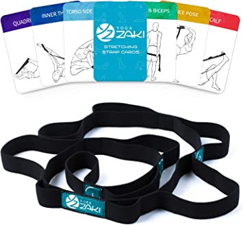 Yoga Stretching Strap with Loops | Set of Yoga Cards & Carry Bag Included | Elastic Stretch Strap for Yoga, Fitness, Physical Theraphy, Pilates