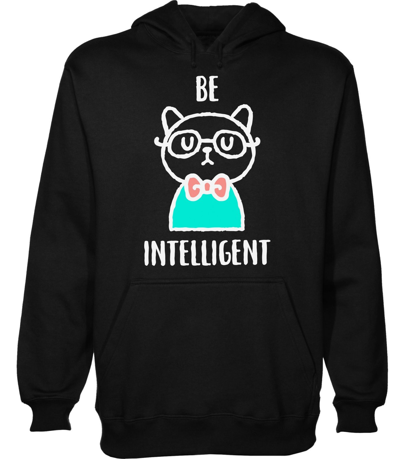 Be Intelligent Hipster Cat with Glasses Men's Hoodie Pullover Extra Large